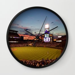 Denver Rockies 7, LA Dodgers 5, and Denver with a Beautiful Night Sky.  Wall Clock