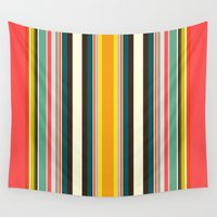 stripe Wall Tapestries featuring retro stripe by Sharon Turner
