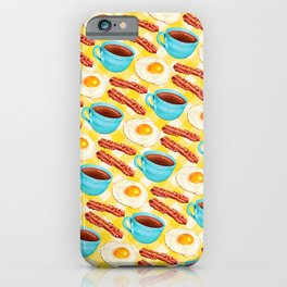 Coffee, Bacon & Eggs Pattern - Yellow Check iPhone Case
