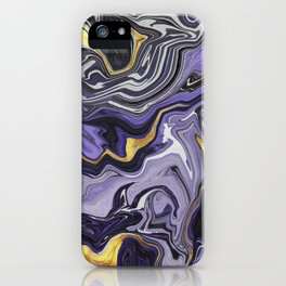 Melted Marble in Purple and Gold iPhone Case