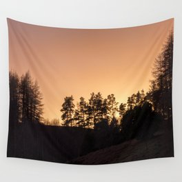 sunset silhouette trees Wall Tapestry