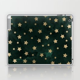 Modern gold christmas stars geometric pattern green watercolor Laptop & iPad Skin