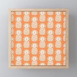 Mid Century Modern Pineapple Pattern Orange 3 Framed Mini Art Print