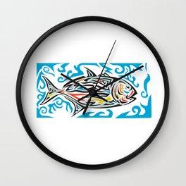 Giant Trevally Side Tribal Art Wall Clock