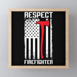 Respect Firefighter Usa Flag American Vintage Axe Framed Mini Art Print