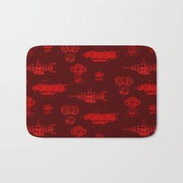 Airship Pattern Scarlet Bath Mat