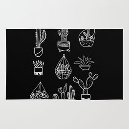 Minimalist Cacti Collection White on Black Rug