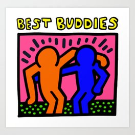 """Keith Haring inspired """"Best Buddies"""" Complementary Color O&B edition Art Print"""