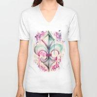 fleur de lis V-neck T-shirts featuring Fleur de Lis by Kerrie Cook