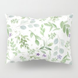 Botanical forest green lavender watercolor floral Pillow Sham