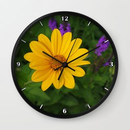Prairie gold with lavender-violet companions 7489 Wall Clock