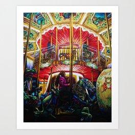 A Short Eternity - Girl On A Carousel Art Print