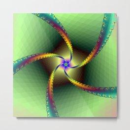 Whirligig in Green Metal Print