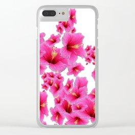 MODERN ART TROPICAL FUCHSIA HIBISCUS  FLOWERS Clear iPhone Case