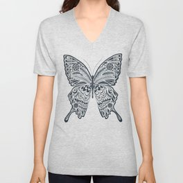 Blue Butterfly Mandala Unisex V-Neck
