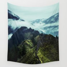 Forest Mountains Blue Sky Wall Tapestry