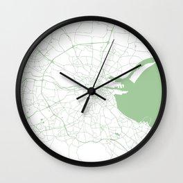 White on Green Dublin Street Map Wall Clock