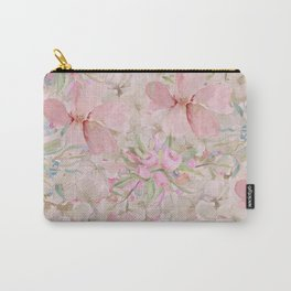 Modern Pastel Pink Watercolor Chic Floral Carry-All Pouch
