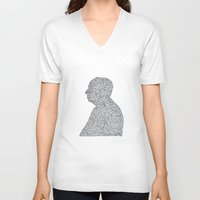 hitchcock V-neck T-shirts featuring Hitchcock by S. L. Fina