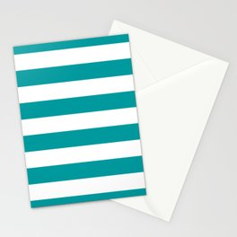 Horizontal Stripes Pattern: Teal Stationery Cards