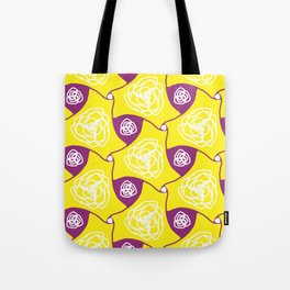 Yellow cabbage roses with plum lozenges Tote Bag