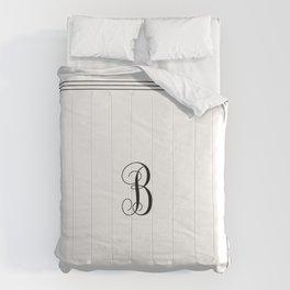 Monogram Letter B in Black with Triple Border Comforters