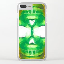 psychedelic skull art geometric triangle abstract pattern in green yellow Clear iPhone Case