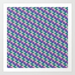 Purple And Green Polygons Art Print