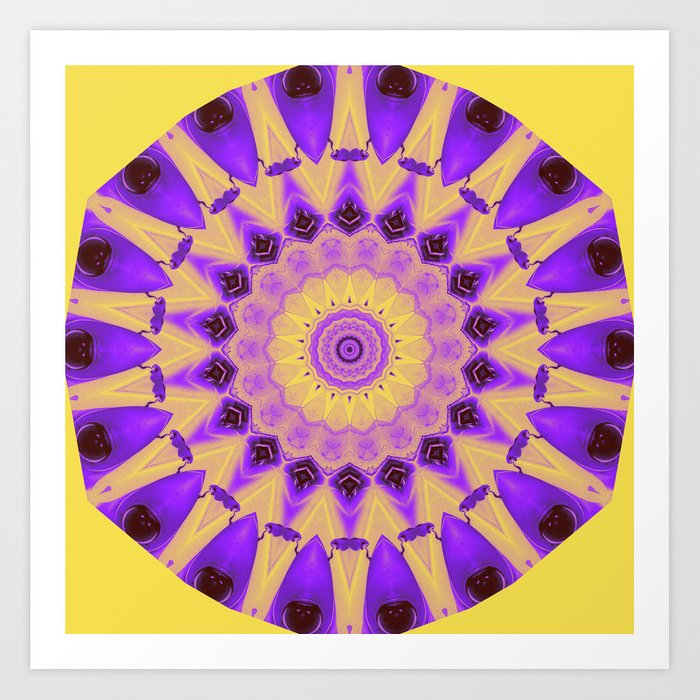 Bold Purple and Yellow Mandala Art Print