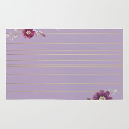 Pastel Watercolor Floral with Metallic Stripes Rug