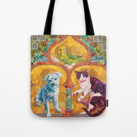 golden girls Tote Bags featuring Golden Temple of the Good Girls by Susan Carlson