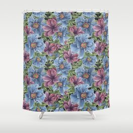 Hibiscus Flowers on Chalkboard Shower Curtain