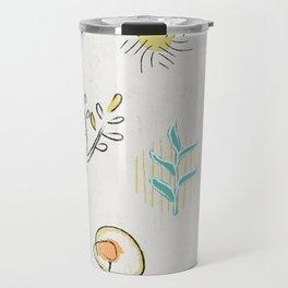 Decorative plants doodle design Travel Mug