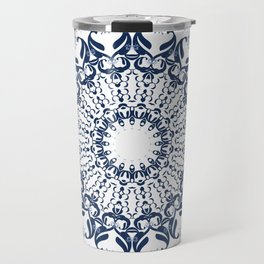 Blue ornament on a white background. Travel Mug