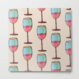 Abstract Modern Wine Art / Wine Tasting Metal Print