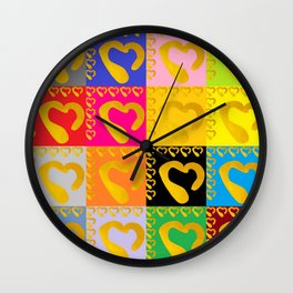 Gold Hearts on colorful Stamp Wall Clock