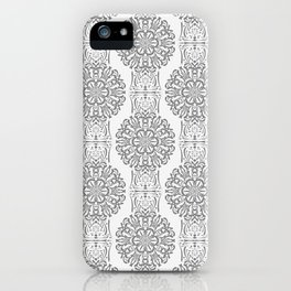 Gray white Damask ornament . iPhone Case