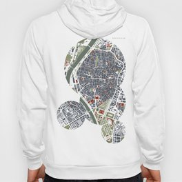 Seville city map engraving Hoody