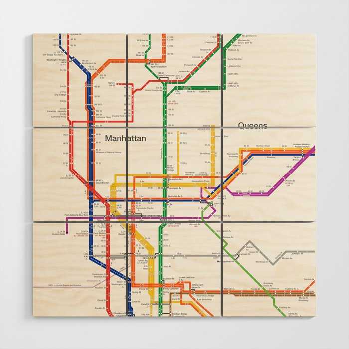 Subway Map For New York City.New York City Subway Map Wood Wall Art By Igorsin