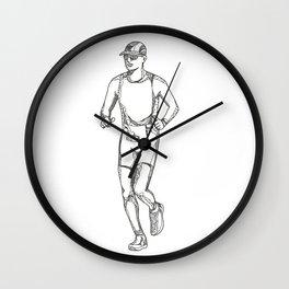 Marathon Running Doodle Art Wall Clock