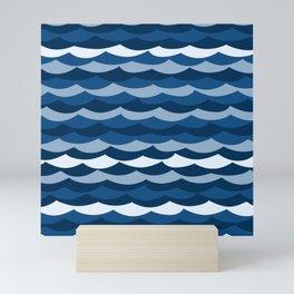 Classic Blue Wave Pattern Mini Art Print