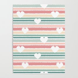 cute lovely horizontal striped pattern background with hearts Poster