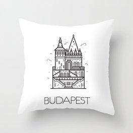 Budapest Hungary Black and White Throw Pillow