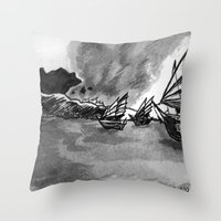 ships Throw Pillows featuring Ships by spiderdave7