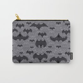Balinese Bat Colony Print - Gray Carry-All Pouch