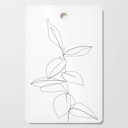 One line minimal plant leaves drawing - Berry Cutting Board