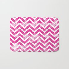 Maritime Pink White Chevron Herringbone ZigZag - Mix & Match Bath Mat
