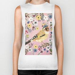 Goldfinch bird with floral crown Biker Tank