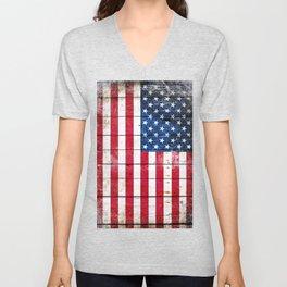 Distressed American Flag On Wood Planks - Horizontal Unisex V-Neck