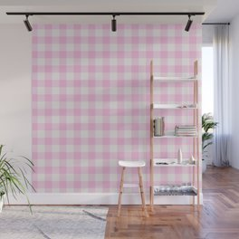 Blush pink white gingham 80s classic picnic pattern Wall Mural